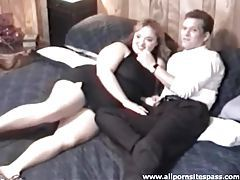 BBW in a black dress sucks his dick tubes