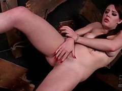 Bound girl pees and licks it up tubes