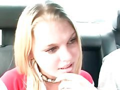 Cute amateur goes down on him in the car tubes