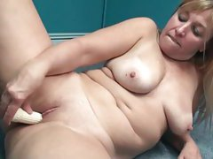 Chubby amateur dildo fucking in home office tubes