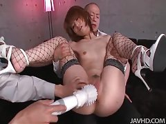 She moans and groans as her pussy is toyed tubes