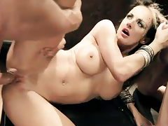 Pierced girl gets slutty with two dudes tubes