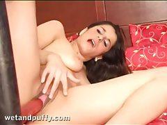 Red dildo machine fucks a pretty girl tubes