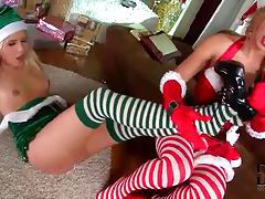 Lesbian foot fetish foreplay with Christmas lingerie girls tubes
