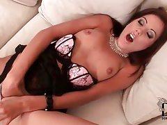 Classy Euro girl in lingerie masturbates tubes