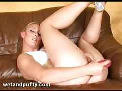 Exotic looking Euro blonde bangs vagina with toy tubes