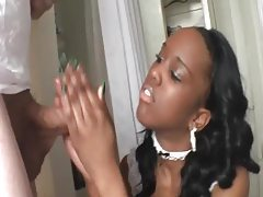 Black French maid jerks him off tubes