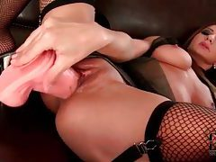 Lubed pussy fucked by a big dildo tubes