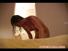 Big titty teen Nadia wet out of the shower tubes