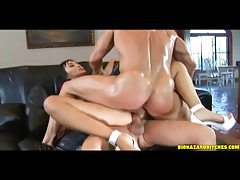 Hot Asian Katsuni in a double penetration tubes