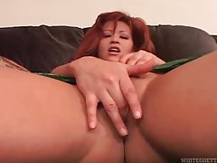 Curvy redhead shows tits and masturbates tubes