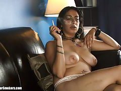 Seductive Latina milf with nice tits smoking topless tubes