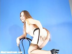 Naughty blonde seductress teasing in her sexy stockings tubes