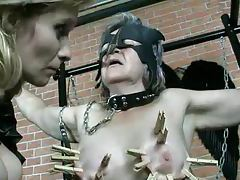 Clothes pins and pain for submissive granny tubes