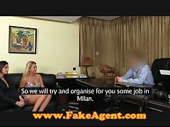FakeAgent Huge natural tits babe in casting tubes