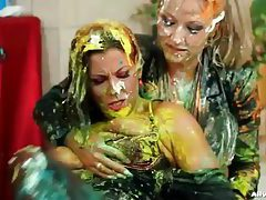 Messy food fight stars two sexy girls tubes