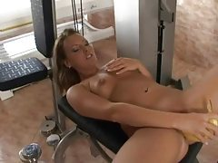 Beautiful European fucks banana into her pussy tubes