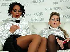 Champagne drinking girls in white satin blouses tubes