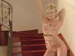 Bra and panties are super hot on slim blonde tubes