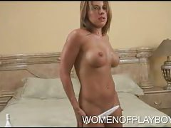 Stephanie Loren rubs lotion into big tits tubes