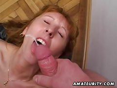 Redhead amateur Milf double blowjob, anal and double facial cumshots tubes