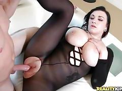 Nylon body stocking is sexy on curvy fuck slut tubes