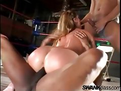 Cute young lady gangbanged in boxing ring tubes