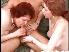 His dick gets hard as two older ladies blow him tubes