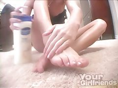 Foot tease from beautiful blonde in lingerie tubes
