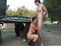 Mature Russian fucked on the farm tubes