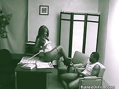 Black couple bangs in accountants office tubes