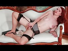 Seamed stockings on this milky white redheaded babe tubes