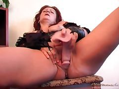 Dressed in black lingerie and dildo fucking pussy tubes