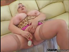Fat chick with huge tits toys vagina tubes