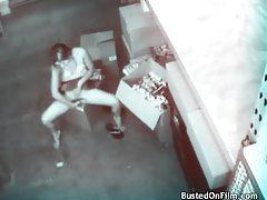 Girl checks out porn and masturbates in secret tubes