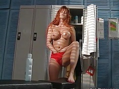 Sexy redhead babe going crazy rubbing her huge tits and her wet pussy tubes