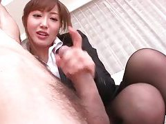 Secretary gives big cock a hot handjob tubes
