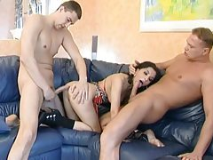 Double banging a cute Latina chick with tight ass tubes