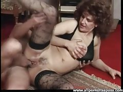 Creampie for a fuck slut in stockings tubes