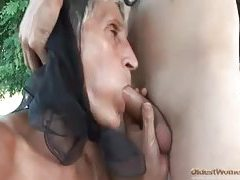 Old lady bent over and screwed in the hot hole tubes