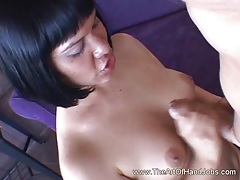 Girl With Bangs Gives Wild Handjob and Takes Cumshot on Boobs tubes
