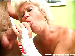 Old lady turns him on with her sexy lingerie tubes