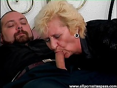 Blown by an old blonde in the bedroom tubes
