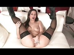 Let gorgeous Eve Angel arouse in black stockings tubes