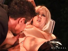 He eats out a beautiful girl in latex boots tubes