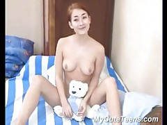 Small tits teen amateur teases in bed tubes