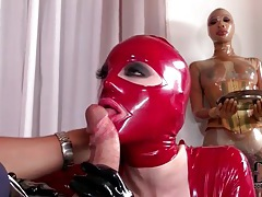 Latex hood on slut sucking big cock tubes