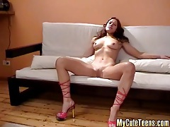 She poses solo in perfect slut heels tubes