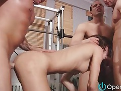 Skinny wet chick gangbanged in gym tubes
