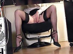 Leggy secretary fingering at the office in nylons tube